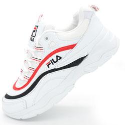 Женские белые кроссовки FILA Ray с синим и красным