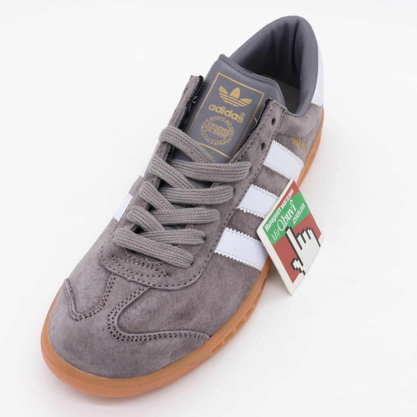 фото front Кроссовки Adidas Hamburg серые - Натуральная замша - Топ качество! front