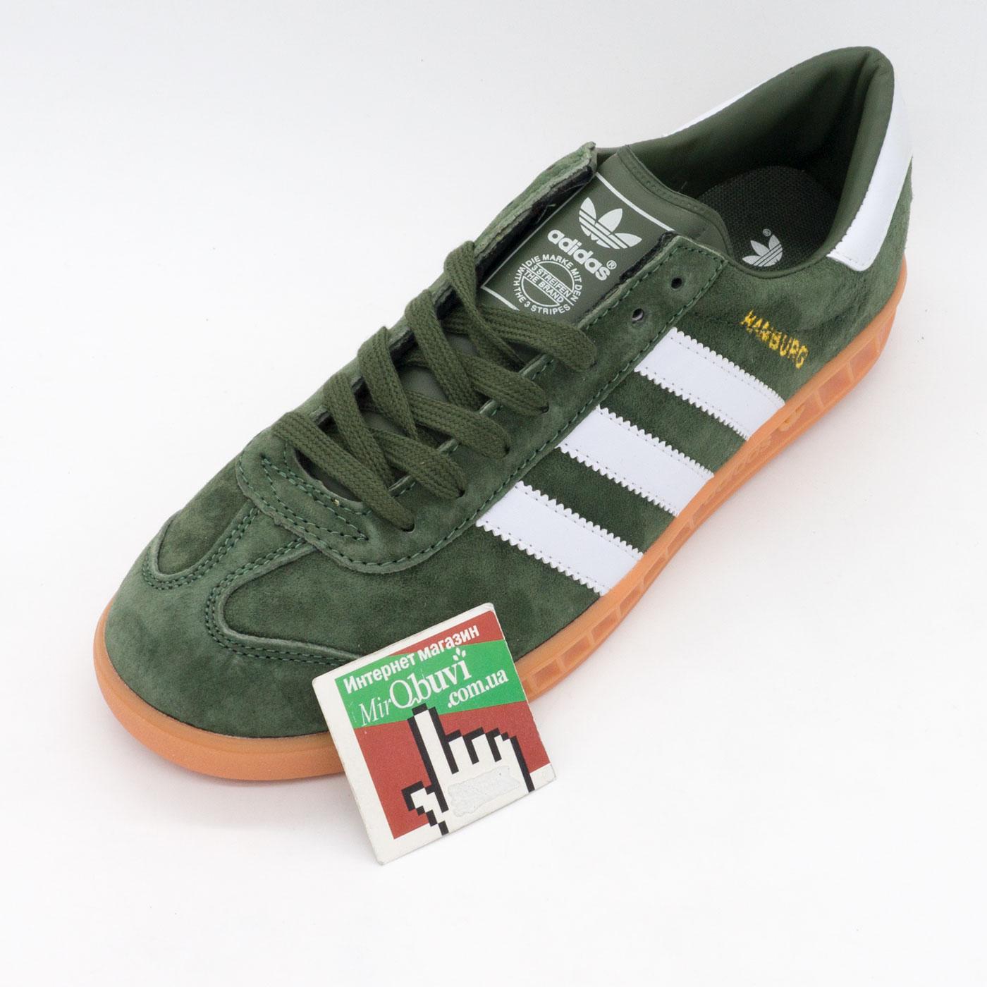 фото front Кроссовки Adidas Hamburg зеленые - Натуральная замша - Топ качество! front