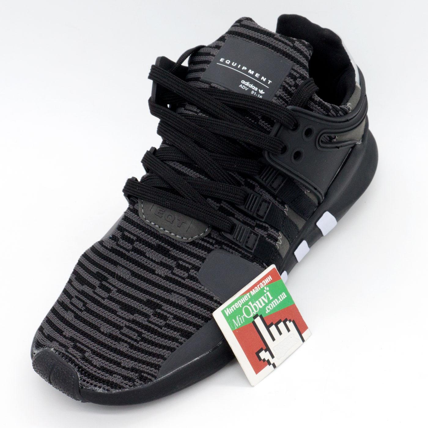 фото front Кроссовки Adidas Equipment support (EQT) полностью черные с серым. Топ качество! front