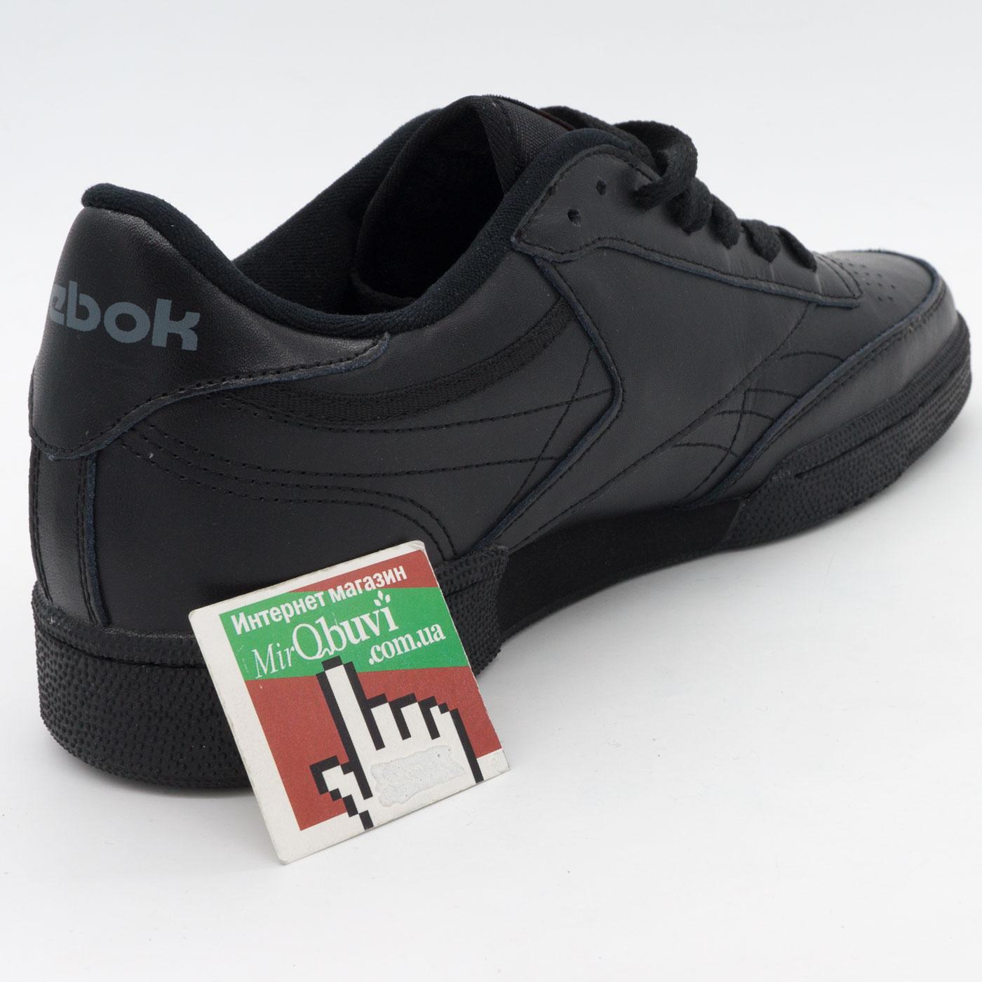 фото back Мужские кроссовки Reebok Сlassic Club C 85 черные, натуральная кожа - Топ качество! back
