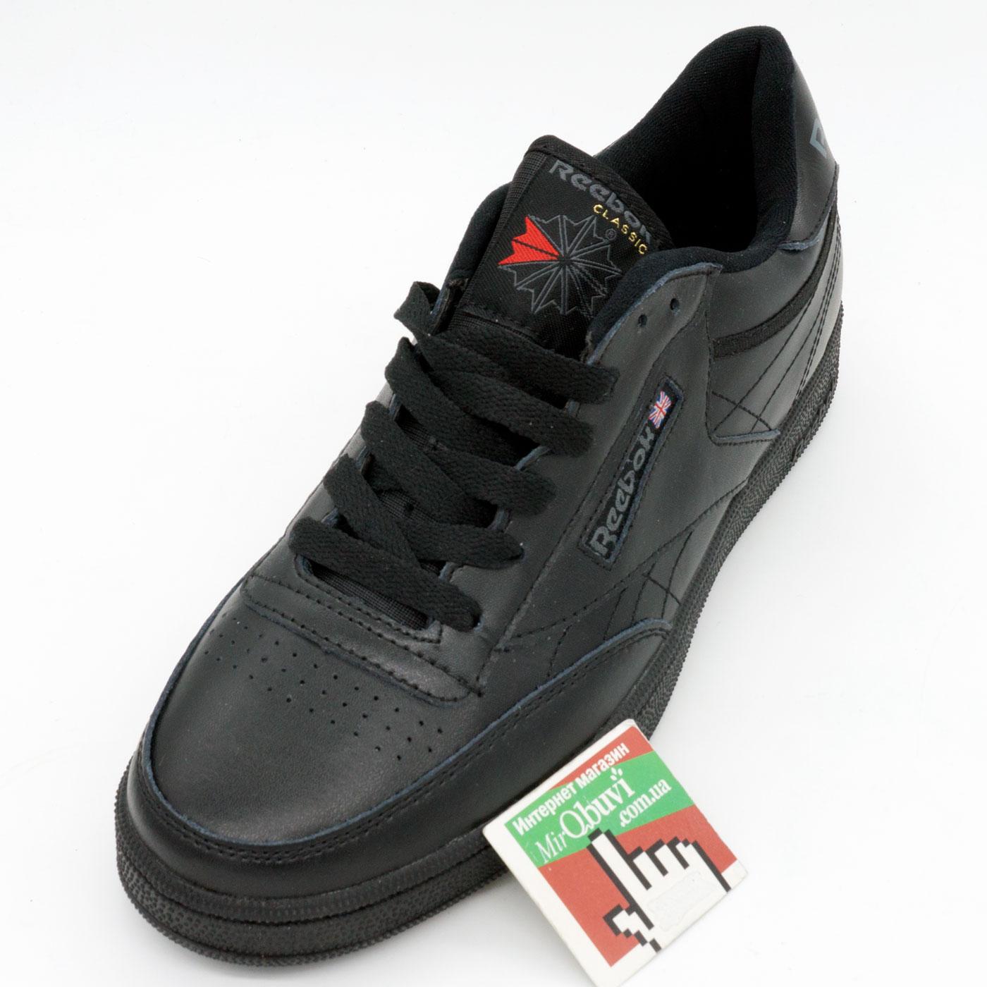 фото front Мужские кроссовки Reebok Сlassic Club C 85 черные, натуральная кожа - Топ качество! front