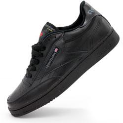 Мужские кроссовки Reebok Сlassic Club C 85 черные, натуральная кожа - Топ качество!