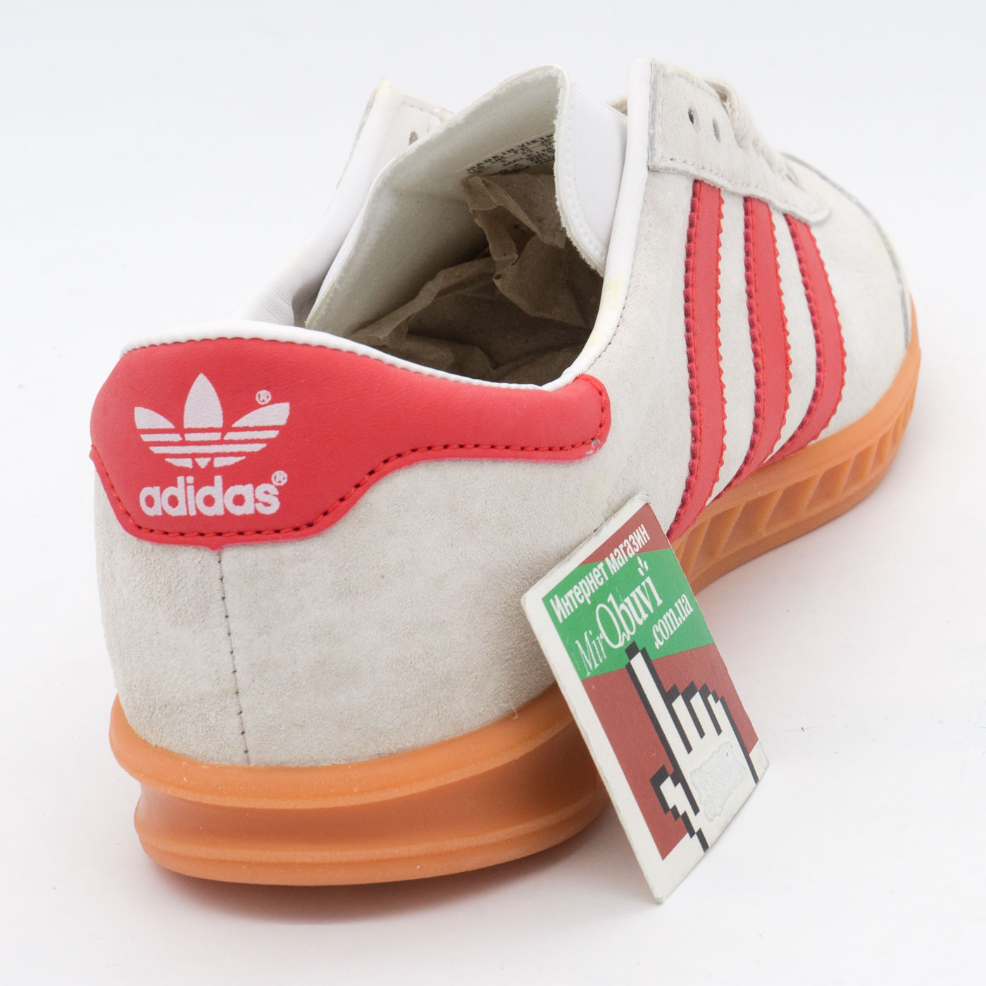 фото back Кроссовки Adidas Hamburg светло серые с красным - Натуральная замша - Топ качество! back