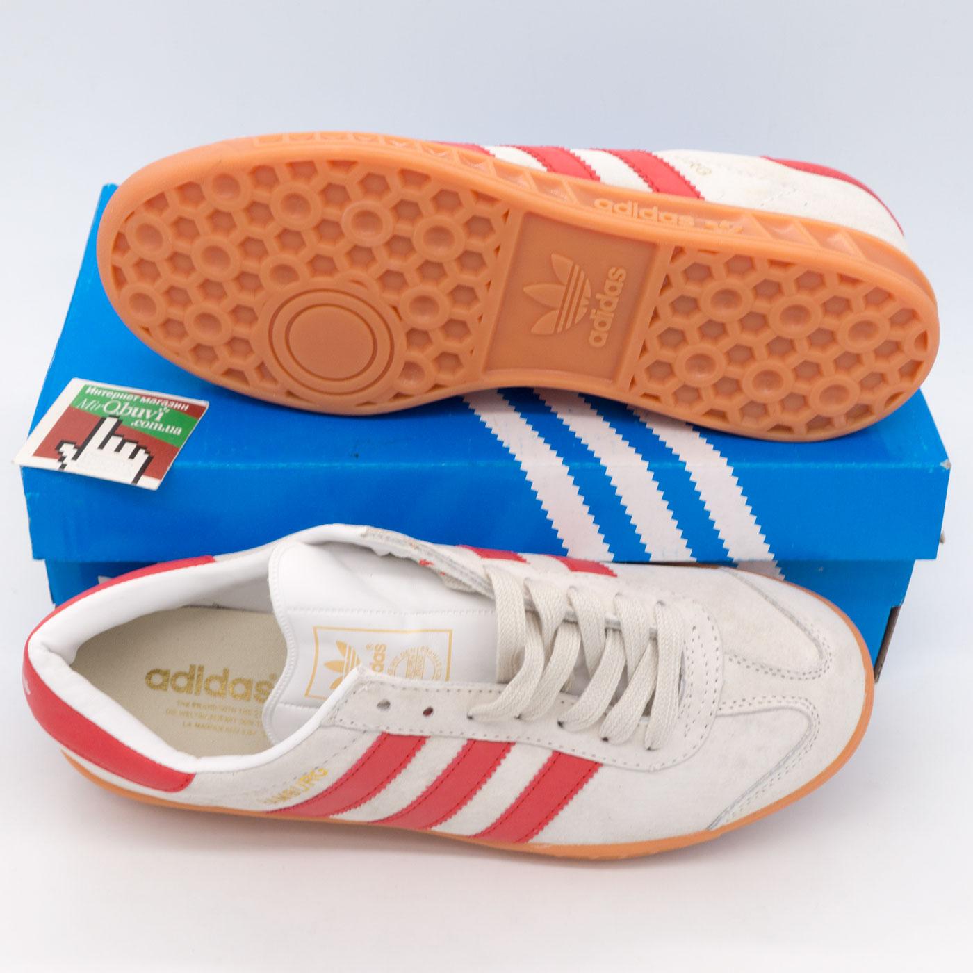фото bottom Кроссовки Adidas Hamburg светло серые с красным - Натуральная замша - Топ качество! bottom