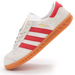 Кроссовки Adidas Hamburg светло серые с красным - Натуральная замша - Топ качество!