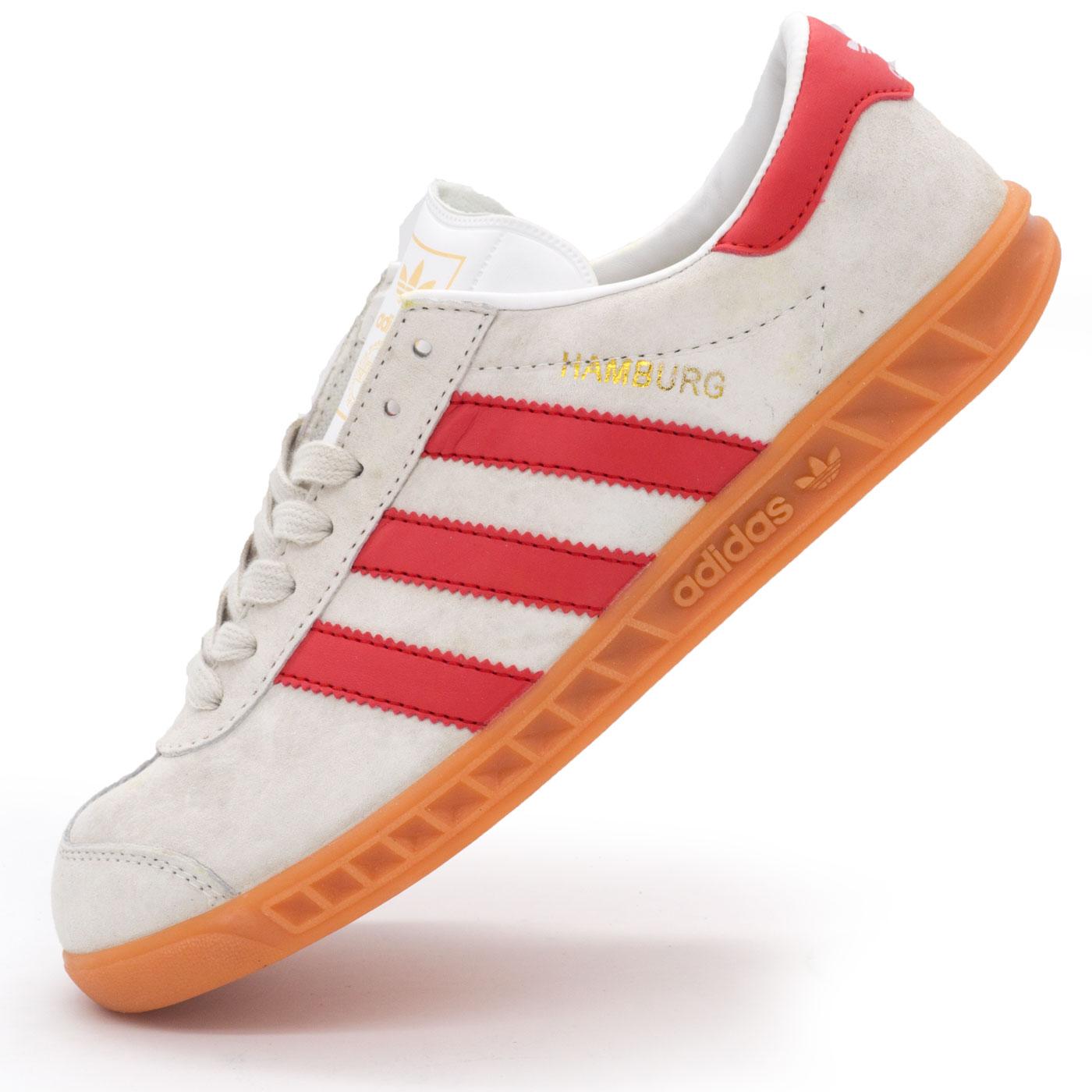 фото main Кроссовки Adidas Hamburg светло серые с красным - Натуральная замша - Топ качество! main