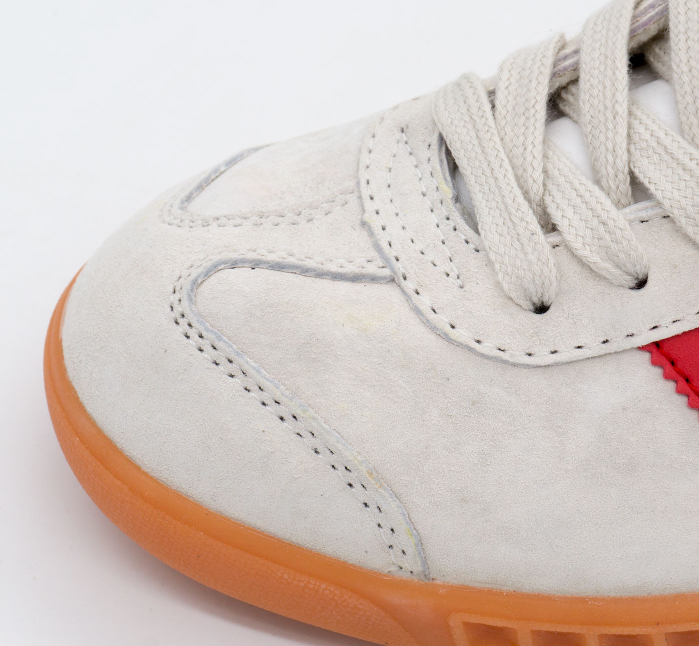 большое фото №6 Кроссовки Adidas Hamburg светло серые с красным - Натуральная замша - Топ качество!