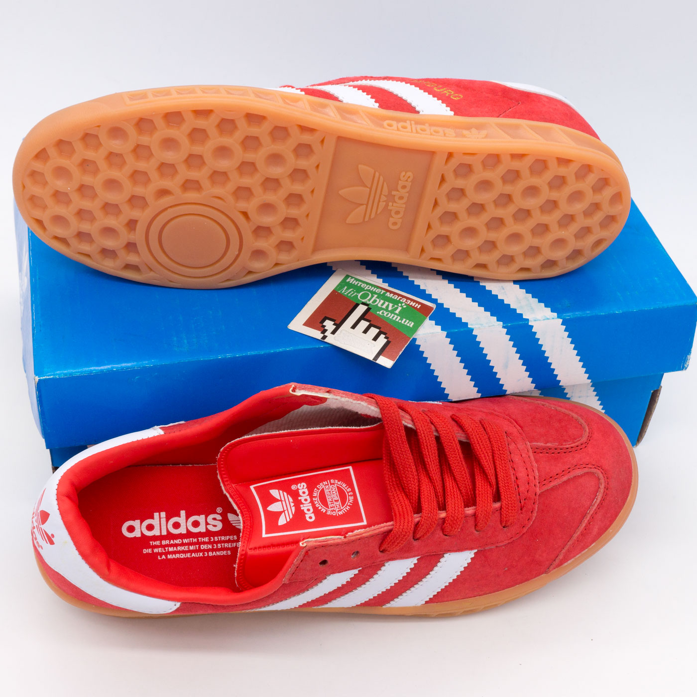 фото bottom Кроссовки Adidas Hamburg красные - Натуральная замша - Топ качество! bottom
