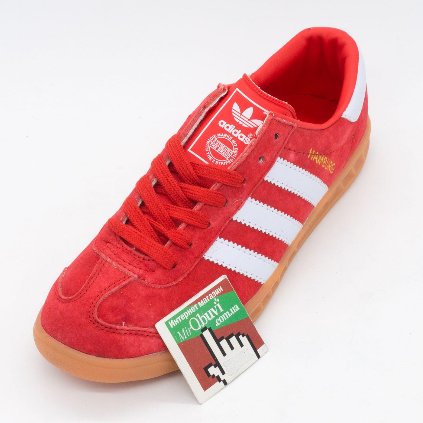 фото front Кроссовки Adidas Hamburg красные - Натуральная замша - Топ качество! front