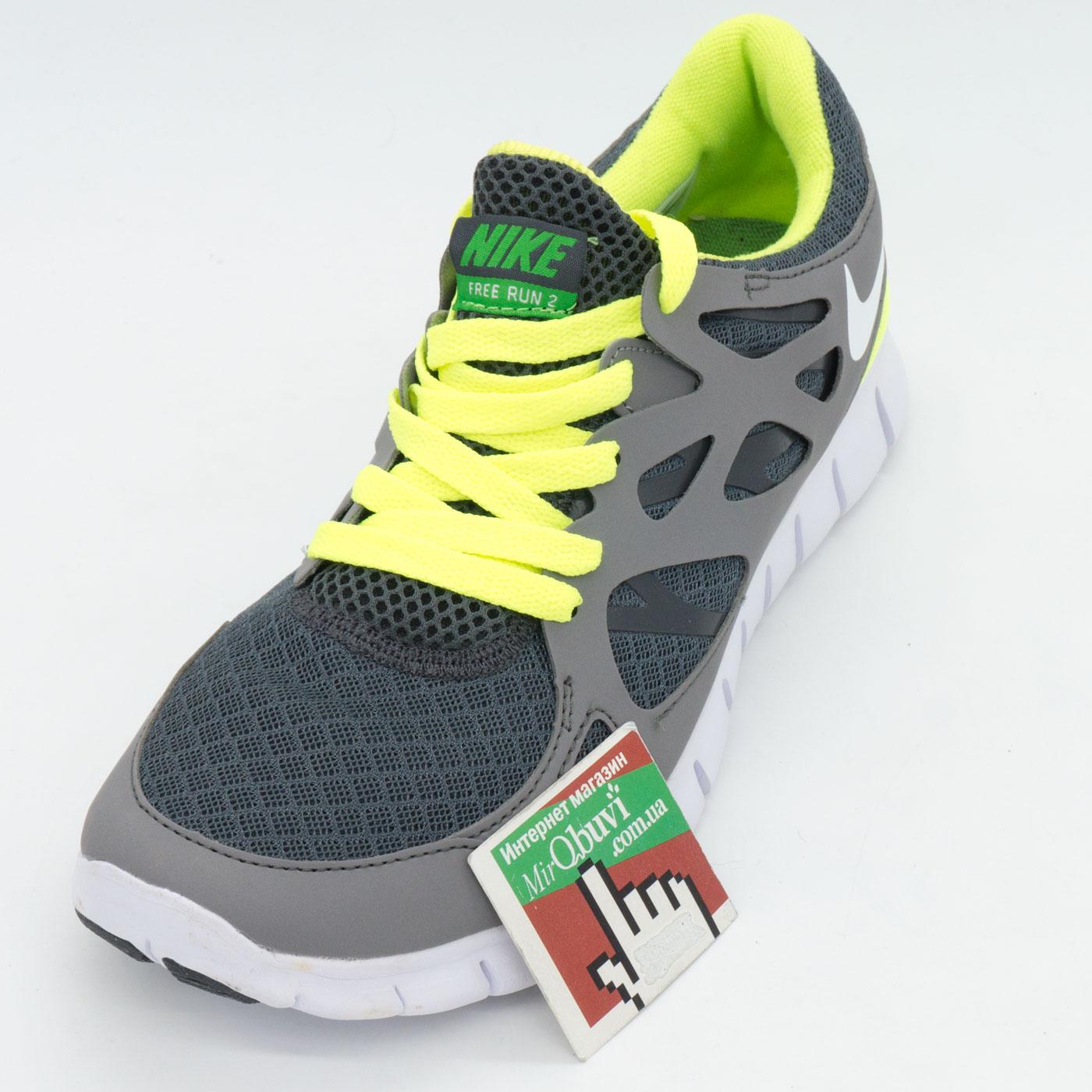фото front Кроссовки для бега Nike Free Run 2 Найк Фри Ран, серо-зеленые front