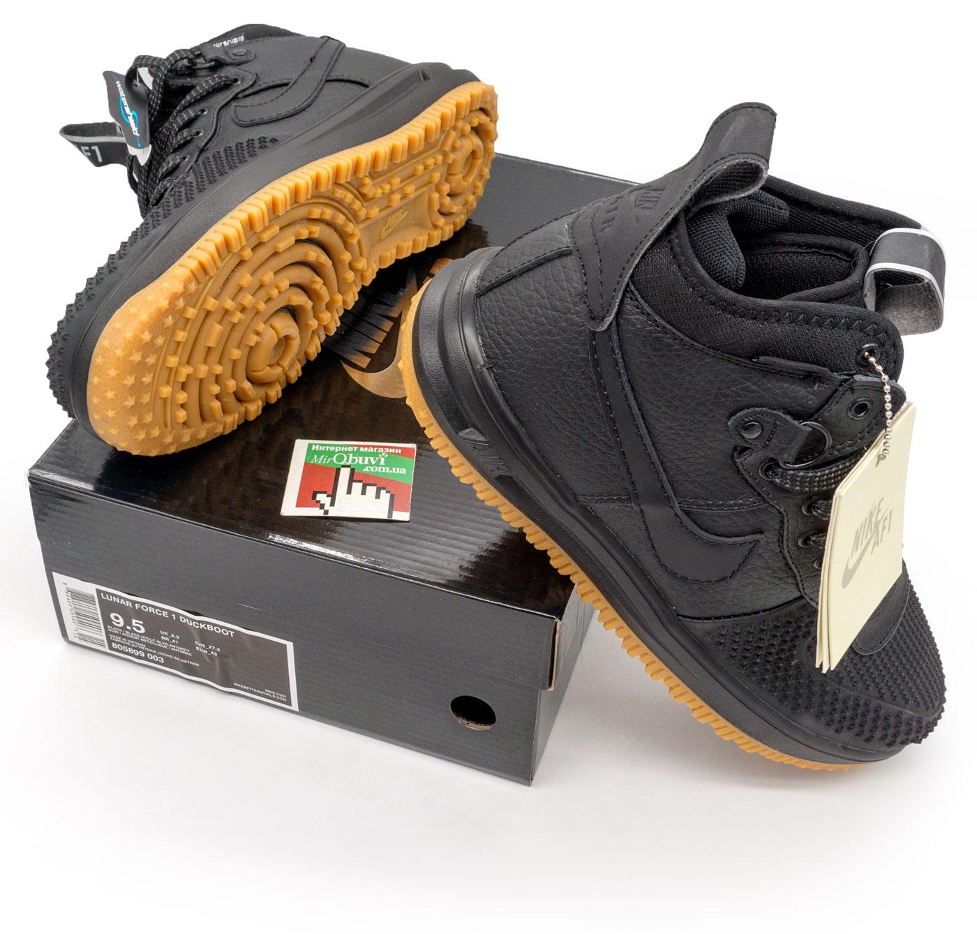 фото front Высокие черные кроссовки Nike Lunar Force 1 Duckboot. Топ качество! front