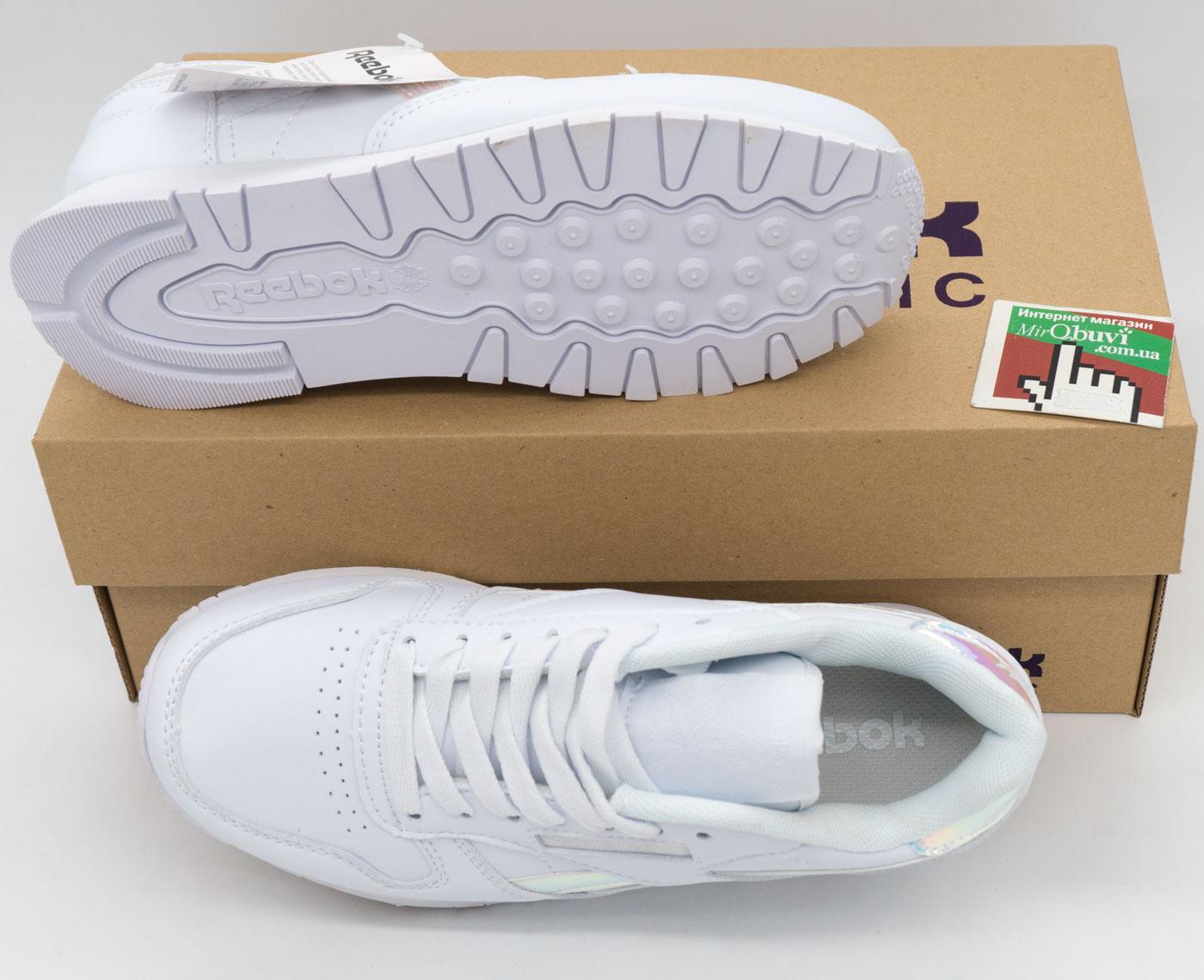 большое фото №5 Женские белые кроссовки Reebok classic leather серебристые