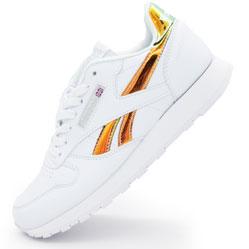 Женские белые кроссовки Reebok classic leather золото