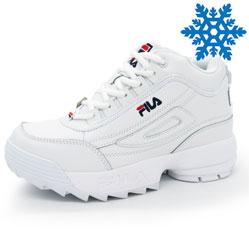 Женские зимние белые кроссовки FILA Disruptor 2 с мехом