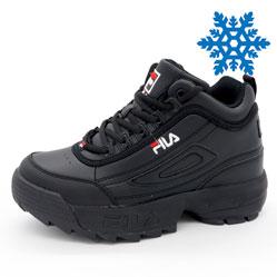 Женские зимние черные кроссовки FILA Disruptor 2 с мехом