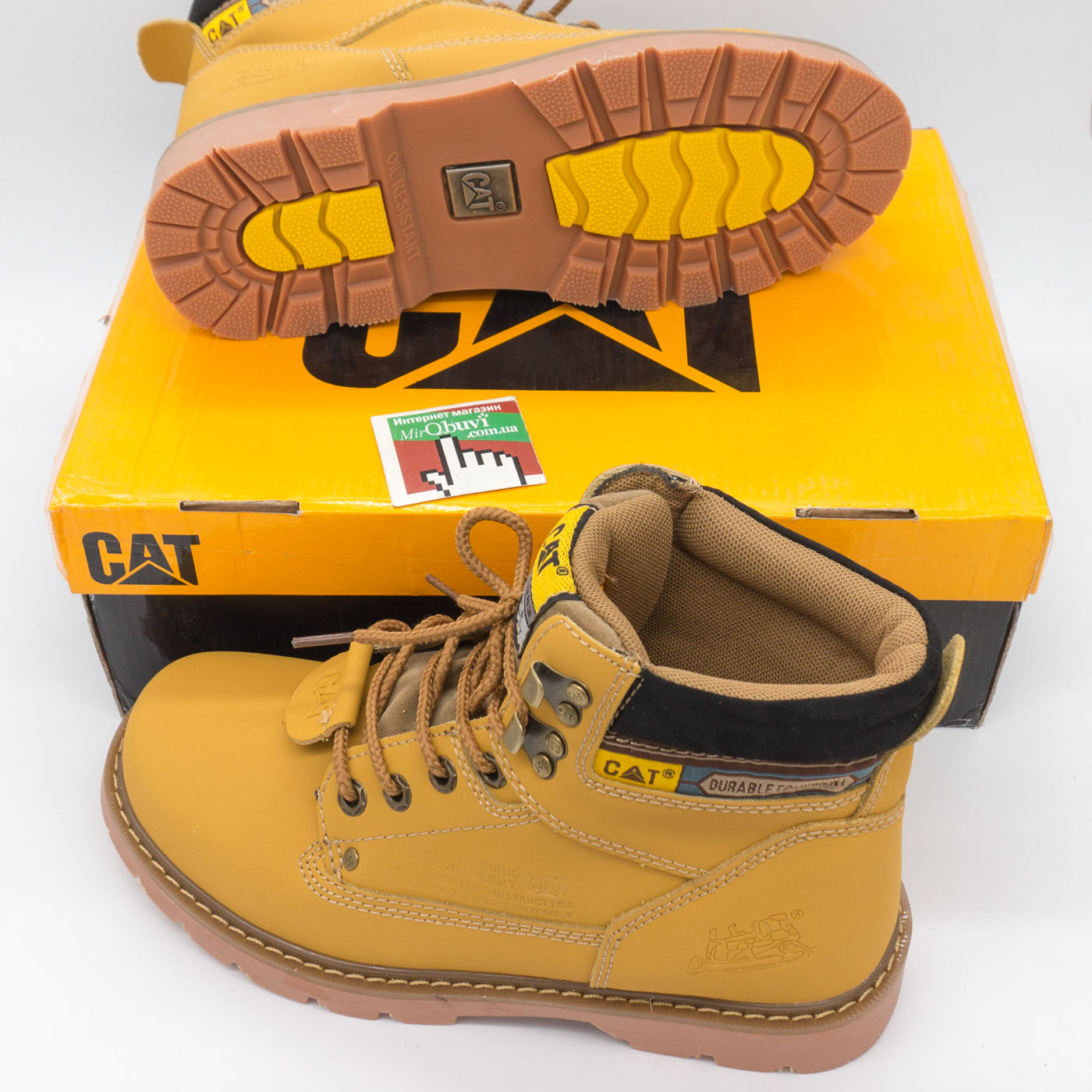 фото bottom Желтые женские ботинки CAT (катерпиллер)  bottom