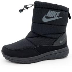 Зимние женские черные дутики с мехом Nike
