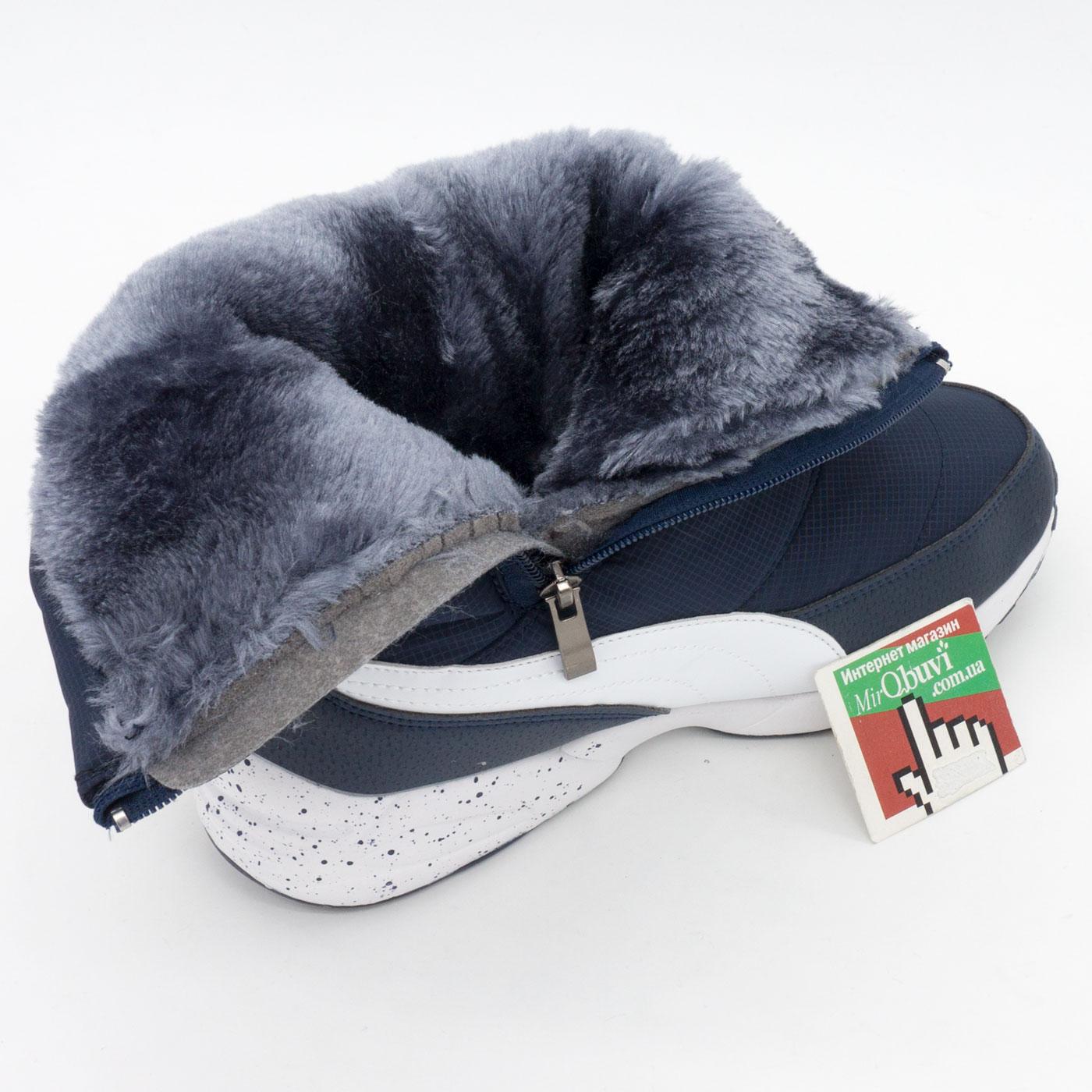 фото back Зимние женские синие дутики с мехом Puma back