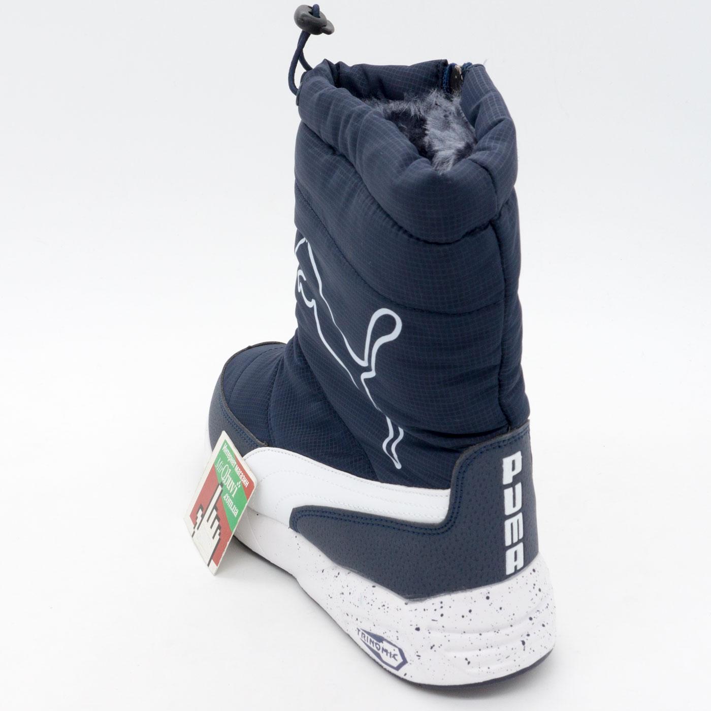 фото bottom Зимние женские синие дутики с мехом Puma bottom