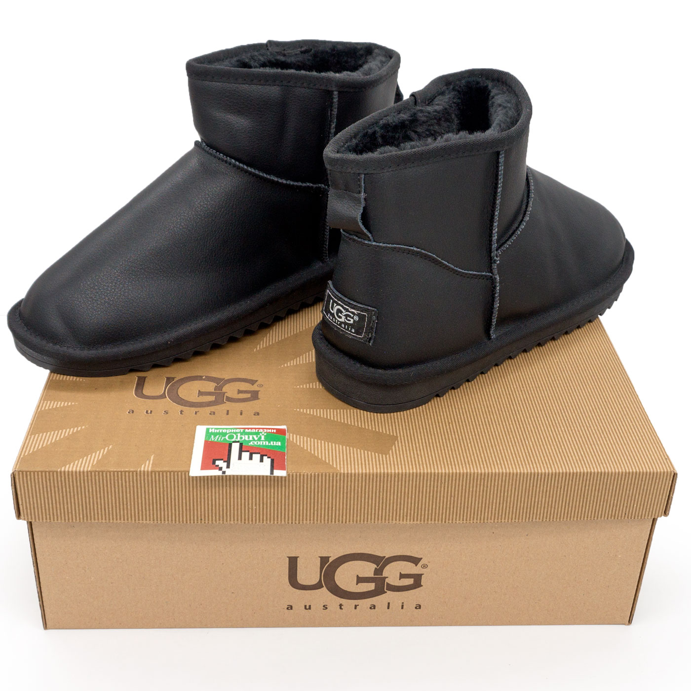 фото bottom Мужские черные кожаные Ugg (Уги) bottom