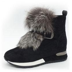 Зимние высокие черные кроссовки LICCI 826-H450M