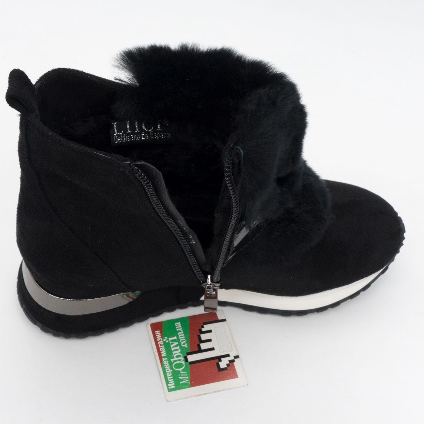 фото back Зимние высокие черные кроссовки LICCI 826-B396M back