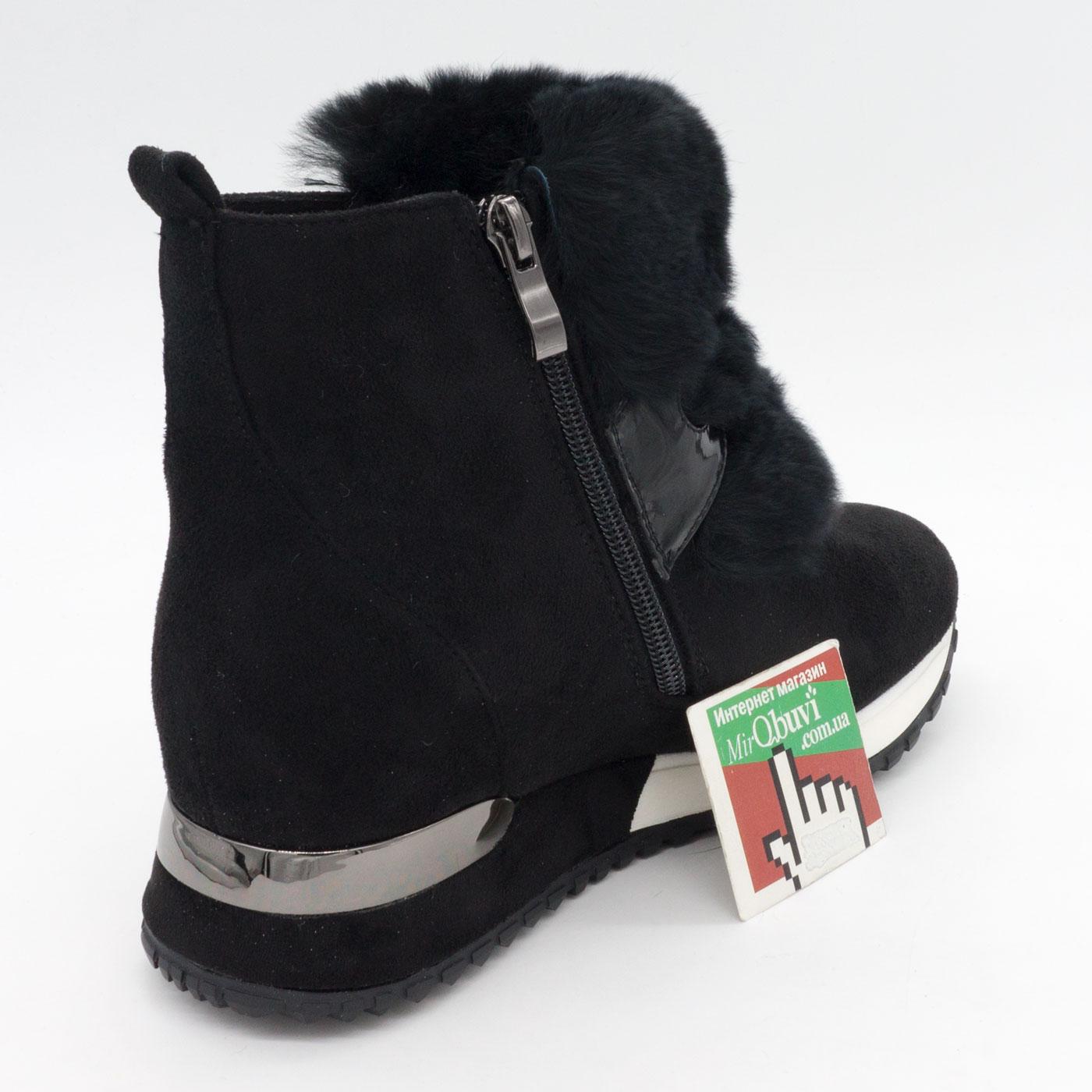 фото front Зимние высокие черные кроссовки LICCI 826-B396M front