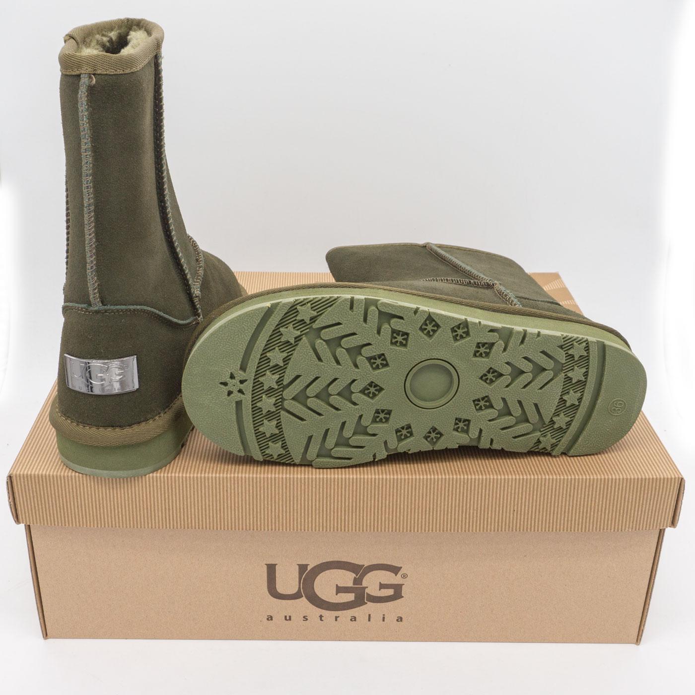 фото bottom Высокие зимние женские UGG (Уги) зеленые замша. bottom