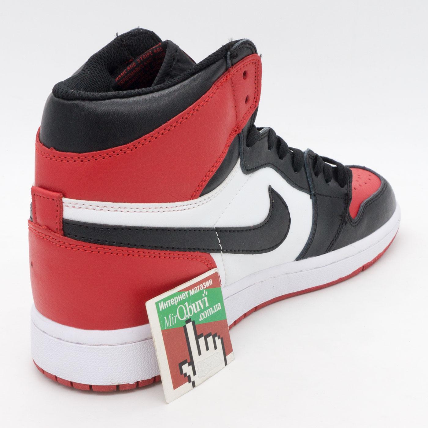 фото front Высокие белым и красным кроссовки Nike Air Jordan 1. Топ качество! front