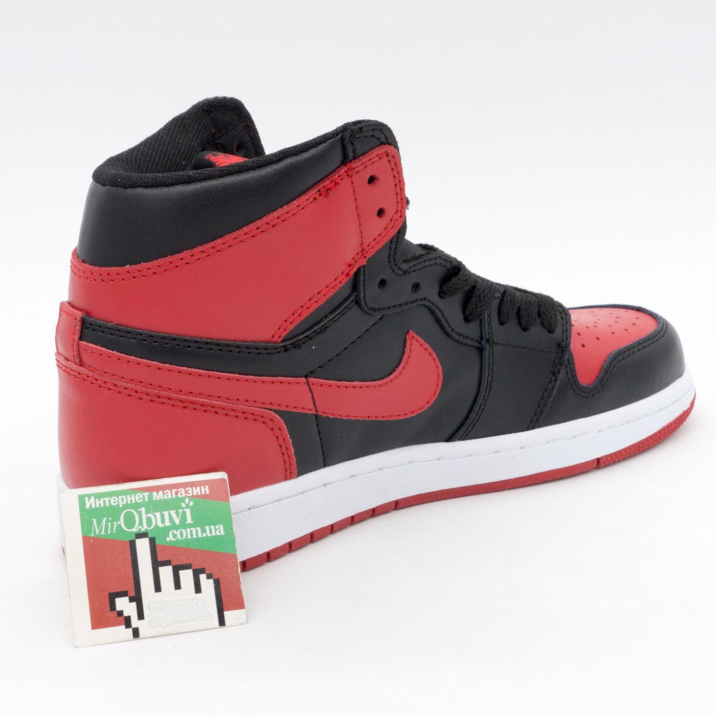 фото bottom Высокие черные c красным кроссовки Nike Air Jordan 1 Retro. Топ качество! bottom