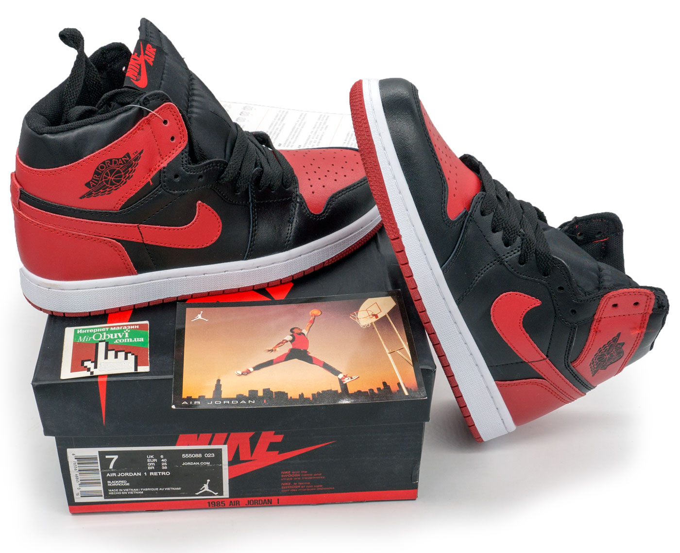 фото front Высокие черные c красным кроссовки Nike Air Jordan 1 Retro. Топ качество! front