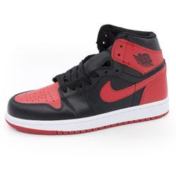 Высокие черные c красным кроссовки Nike Air Jordan 1 . Топ качество!