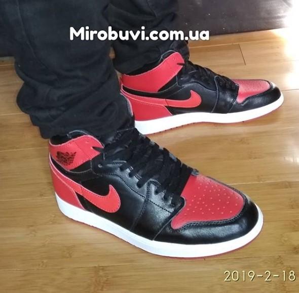 большое фото №5 Высокие черные c красным кроссовки Nike Air Jordan 1 . Топ качество!