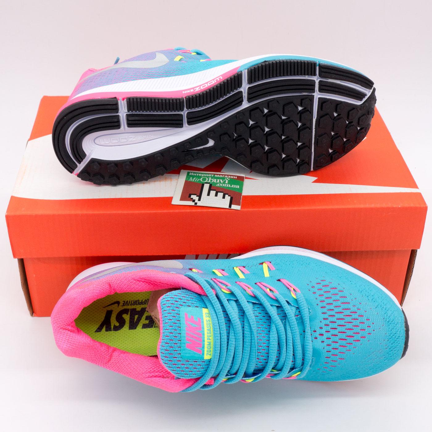 фото bottom Женские кроссовки для бега Nike Zoom Pegasus 33 голубые. Топ качество! bottom