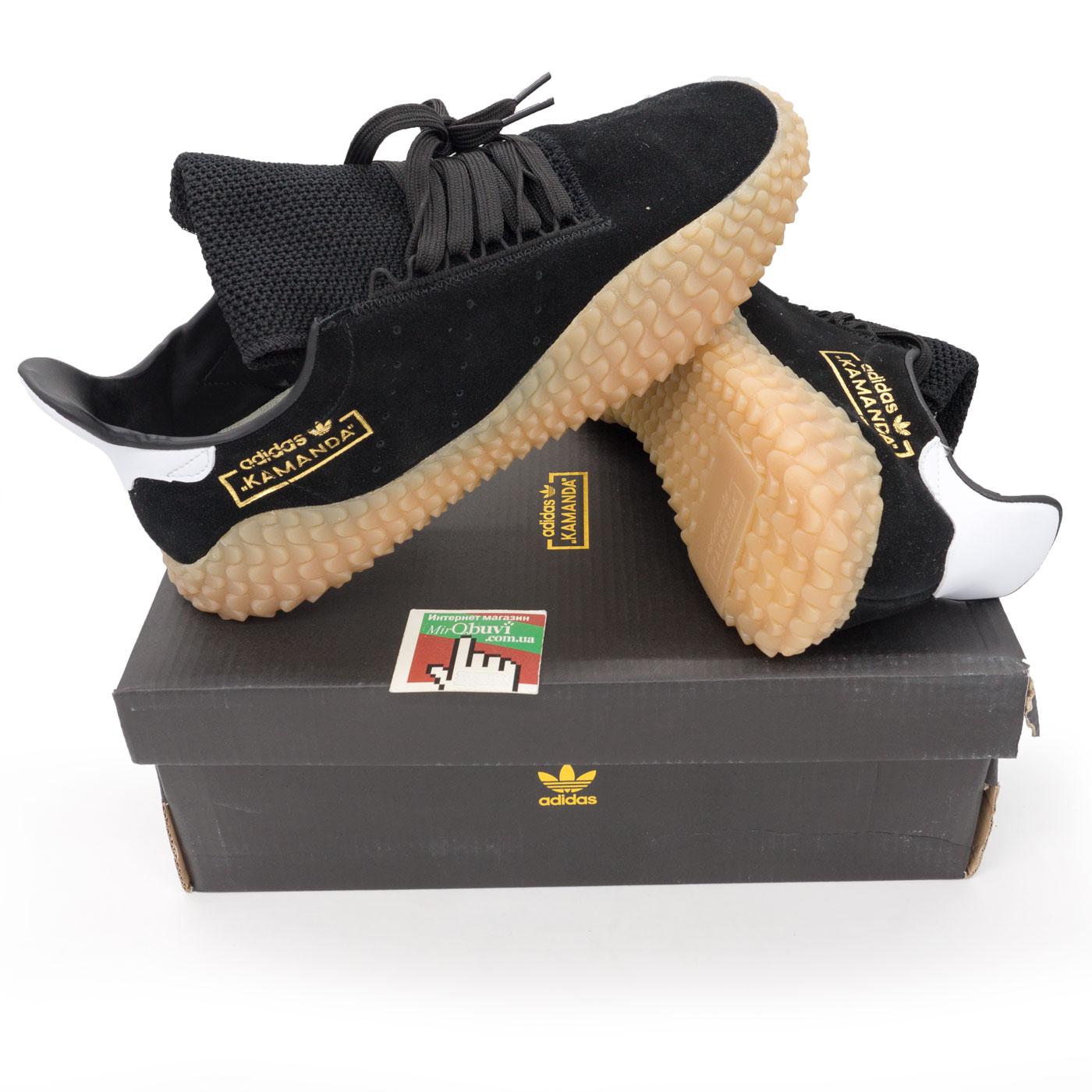 фото bottom Кожаные кроссовки Adidas Kamanda черные. Топ качество! bottom
