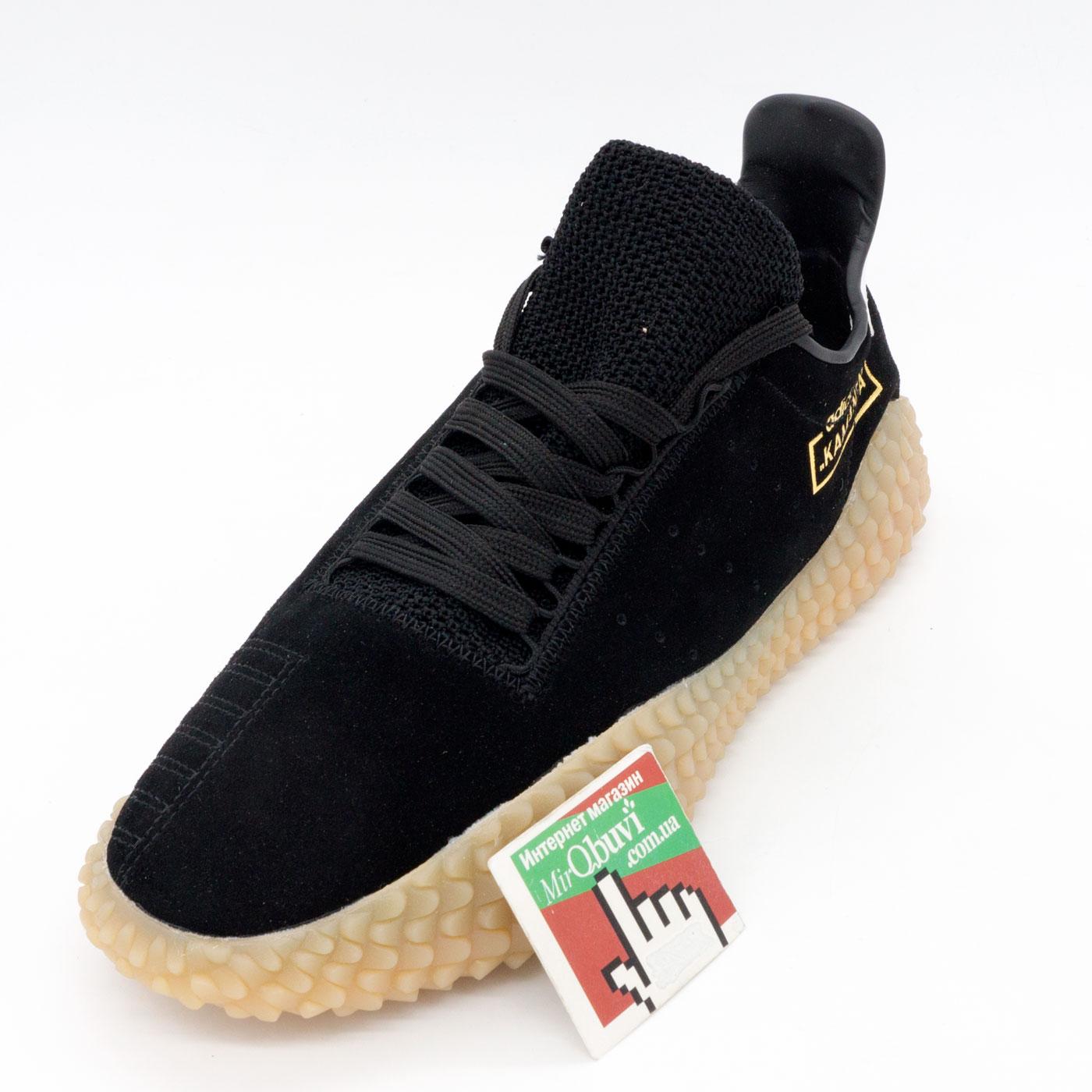 фото front Кожаные кроссовки Adidas Kamanda черные. Топ качество! front