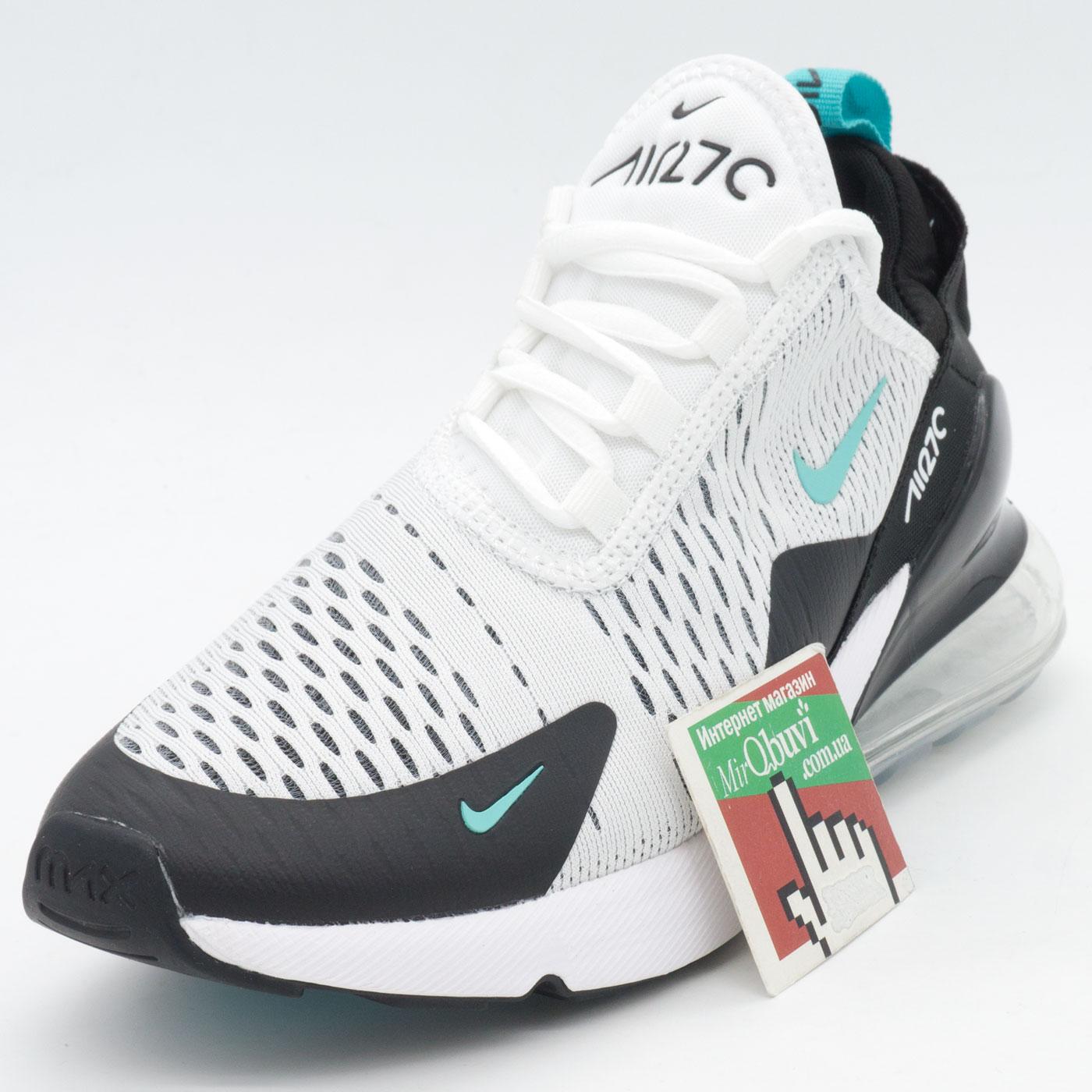 фото front Кроссовки Nike Air Max 270 белые, бирюзовый значек. front