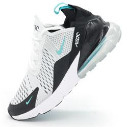 Кроссовки Nike Air Max 270 белые, бирюзовый значек.