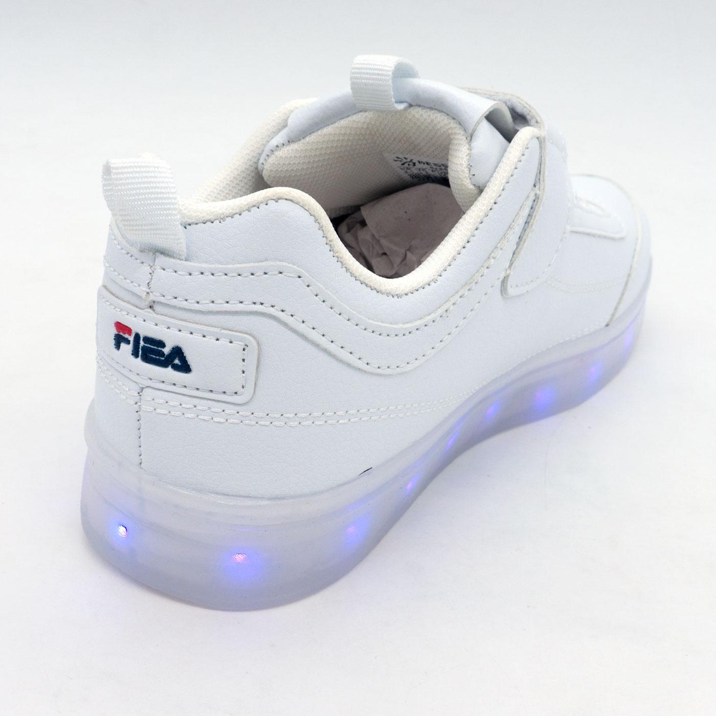 фото front Светящиеся кроссовки Led низкие белые фила front