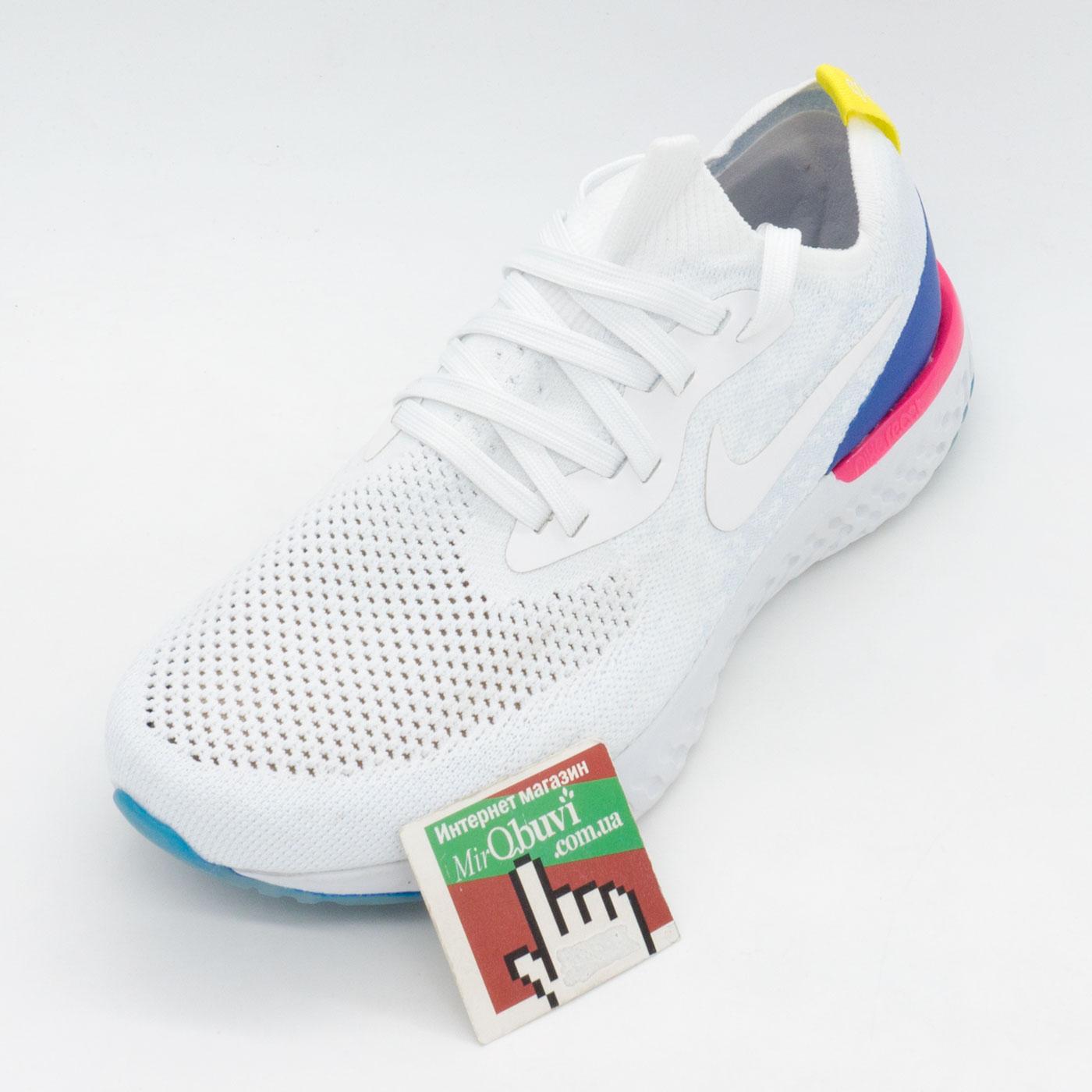 фото front Кроссовки для бега Nike Epic React Flyknit белые. Топ качество! front