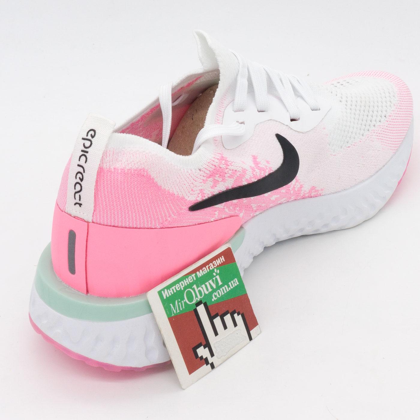фото back Женские кроссовки для бега Nike Epic React Flyknit было-розовые. Топ качество! back