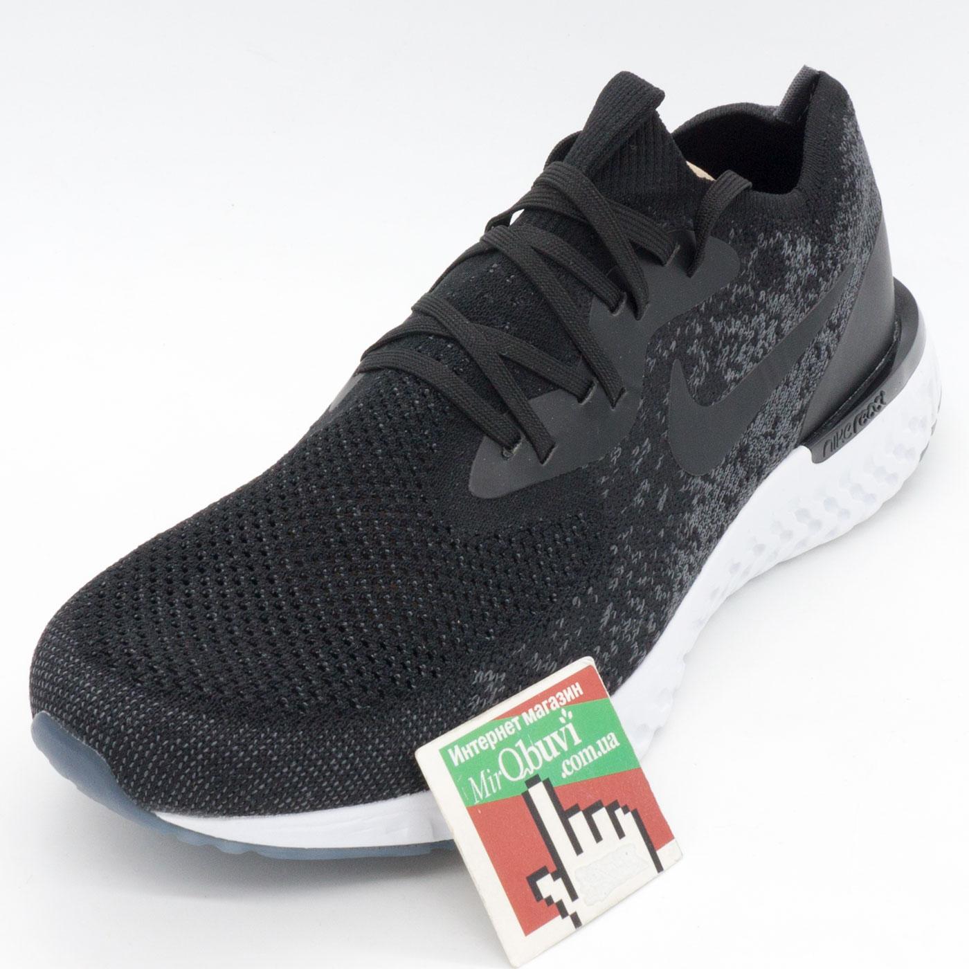 фото front Мужские кроссовки для бега Nike Epic React Flyknit черно-белые. Топ качество! front