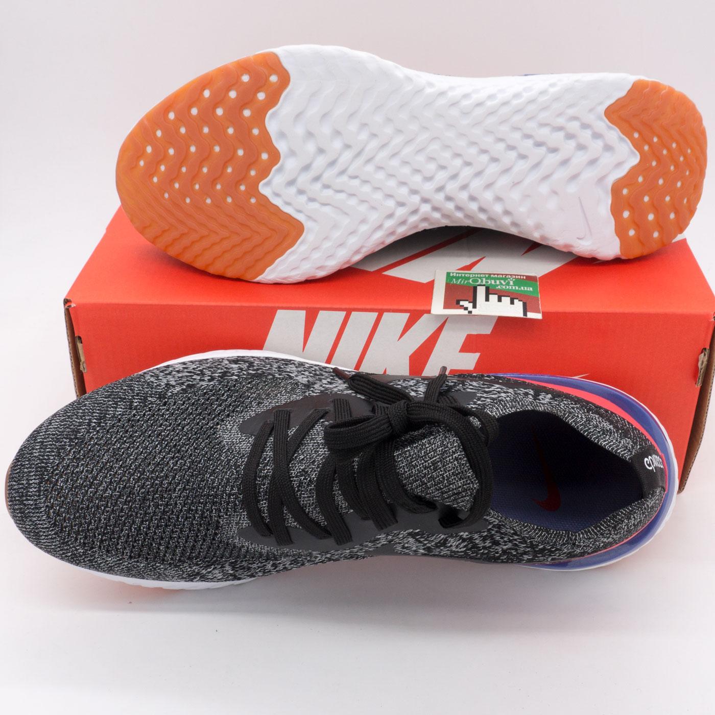 фото bottom Мужские кроссовки для бега Nike Epic React Flyknit зебра. Топ качество! bottom