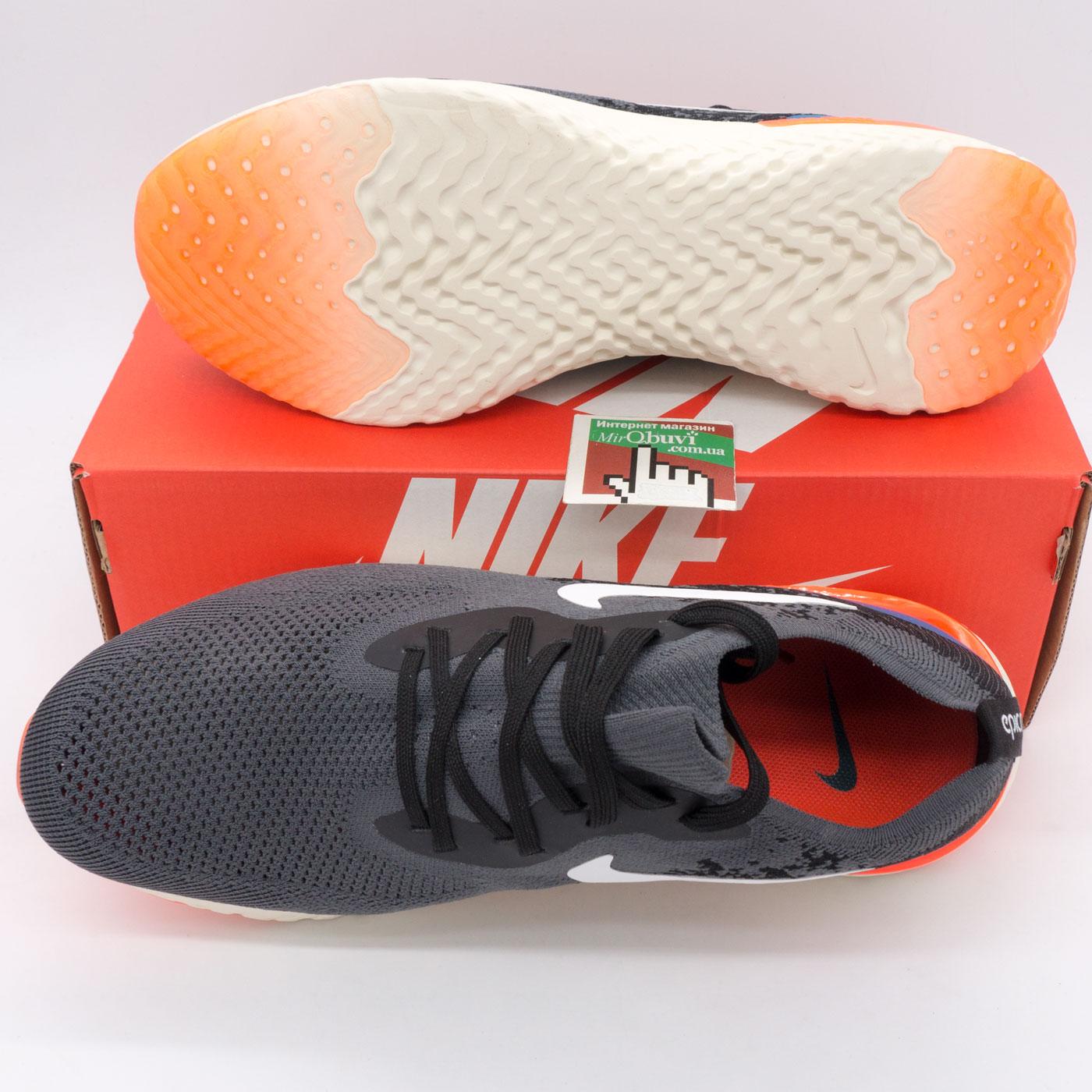 фото bottom Мужские кроссовки для бега Nike Epic React Flyknit пепел. Топ качество! bottom