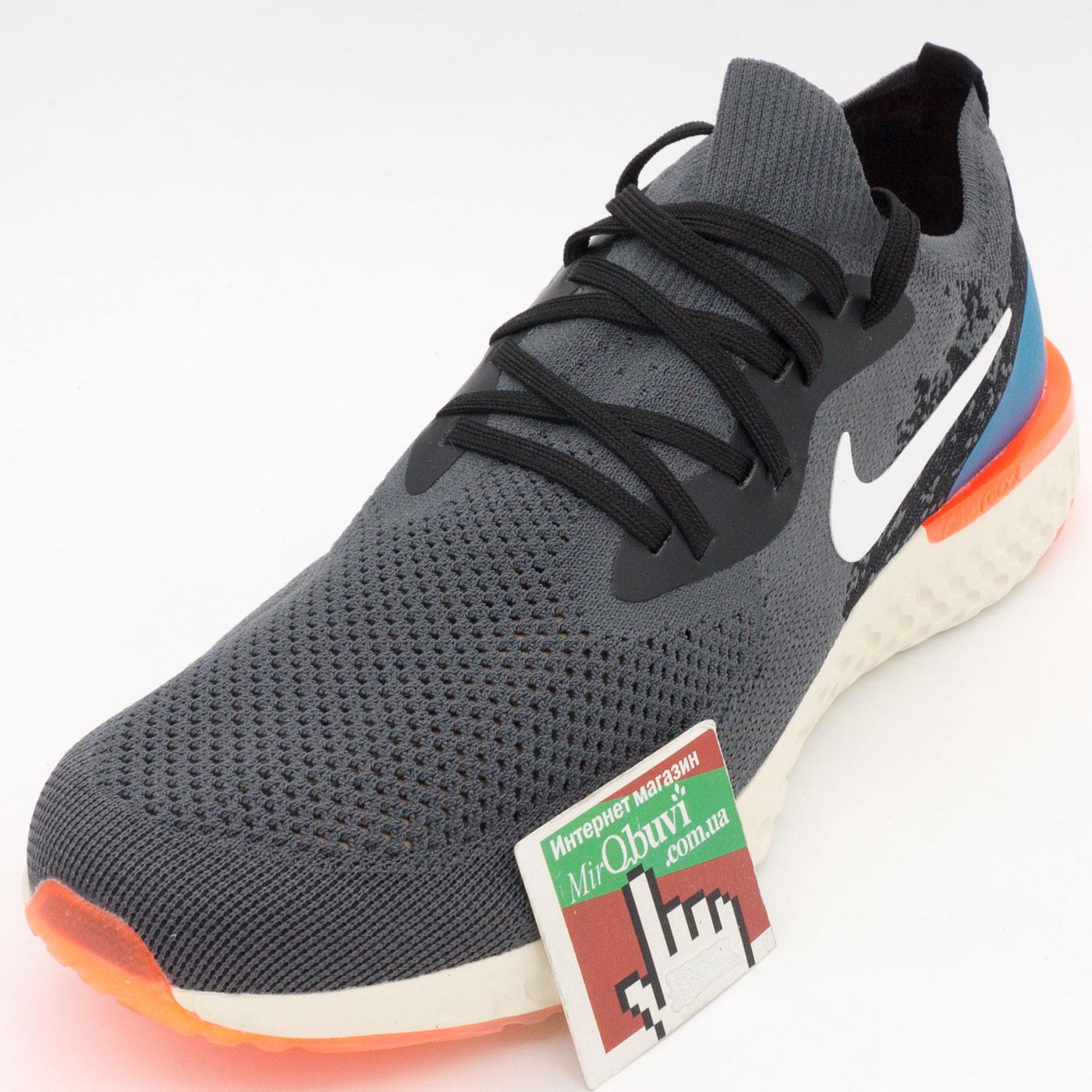 фото front Мужские кроссовки для бега Nike Epic React Flyknit пепел. Топ качество! front