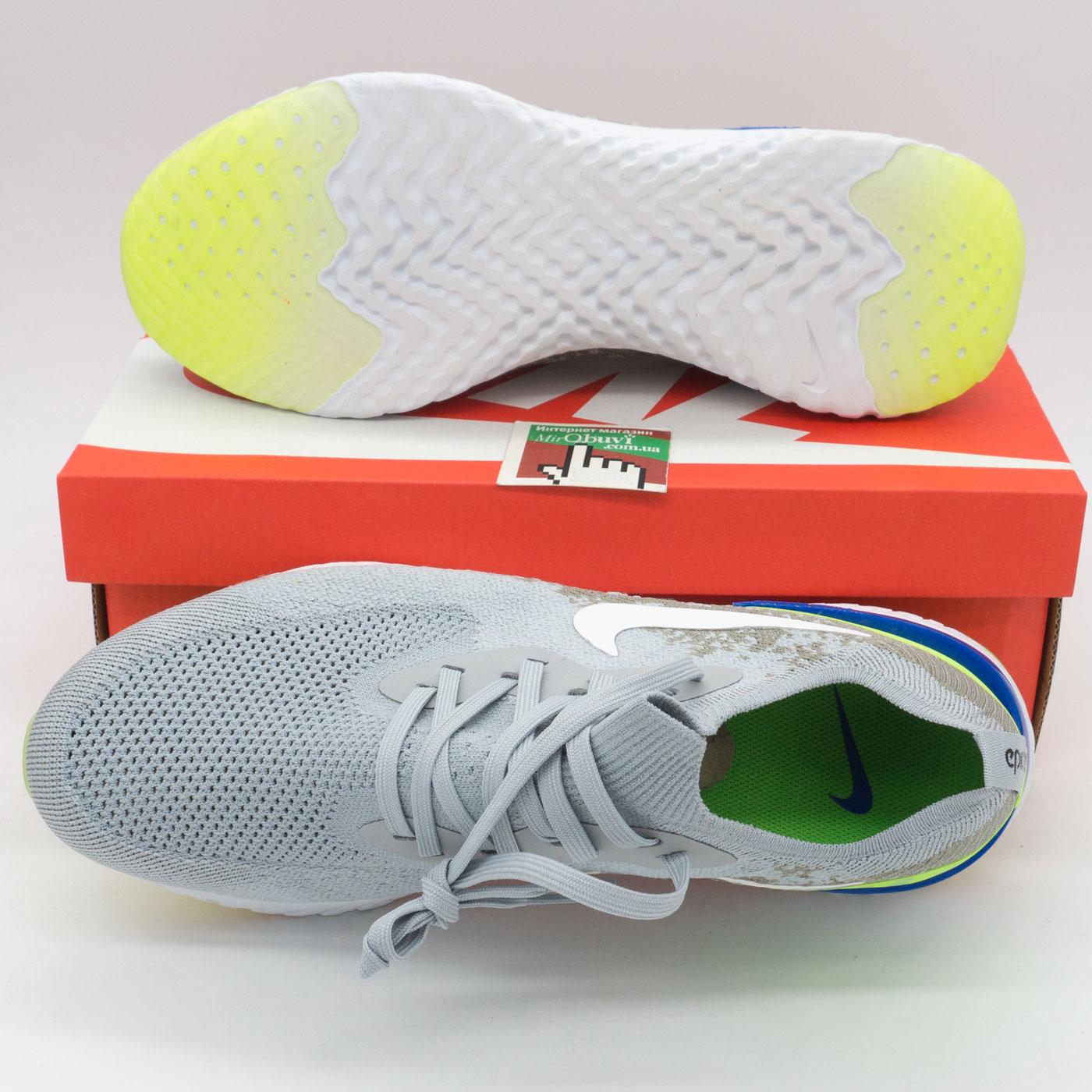 фото bottom Мужские кроссовки для бега Nike Epic React Flyknit серые. Топ качество! bottom