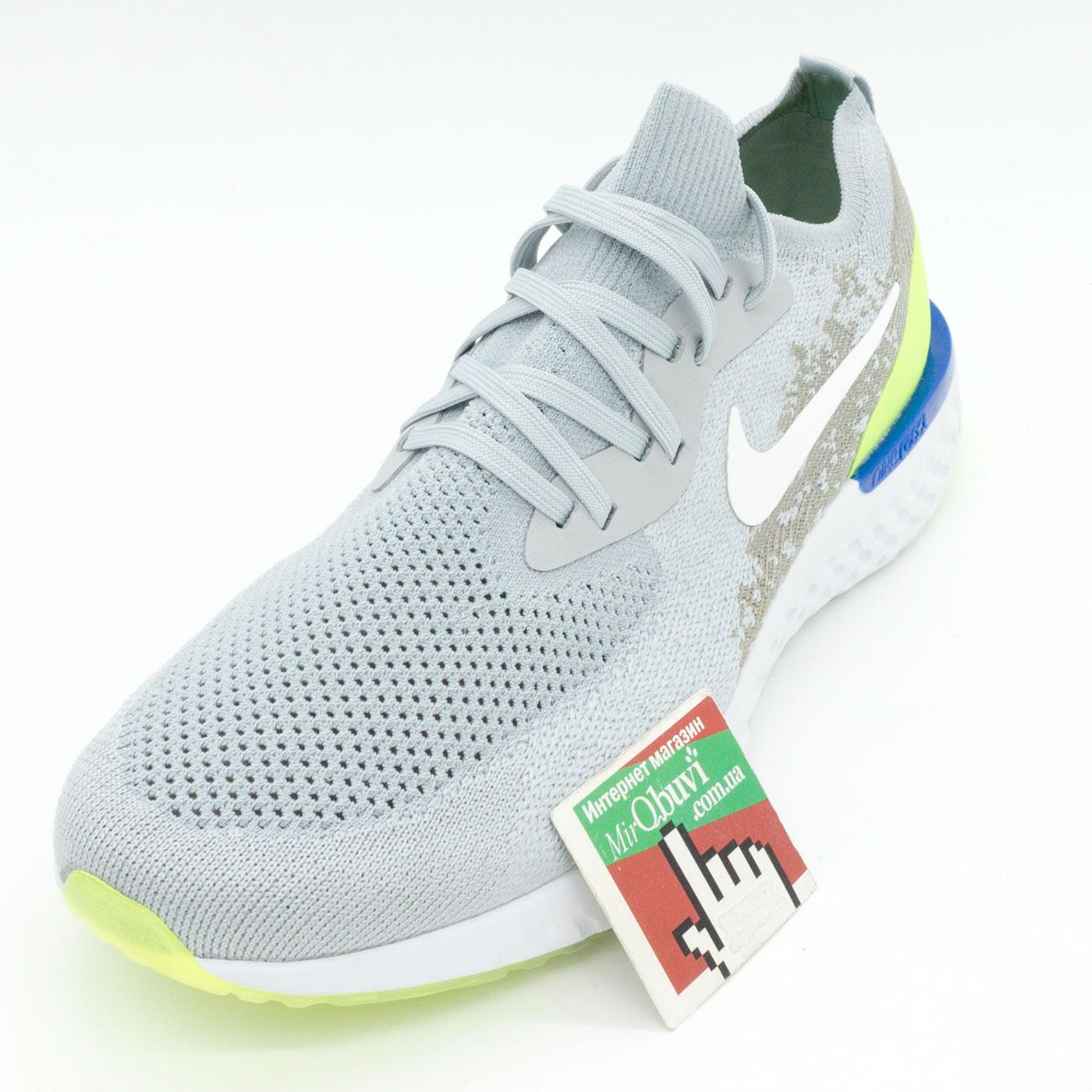 фото front Мужские кроссовки для бега Nike Epic React Flyknit серые. Топ качество! front