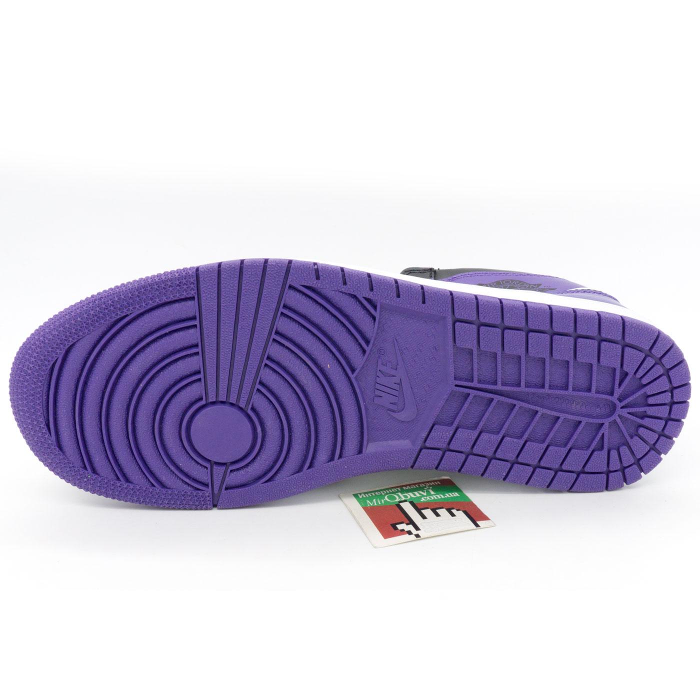 фото back Высокие черные c фиолетовым кроссовки Nike Air Jordan 1 . Топ качество! back