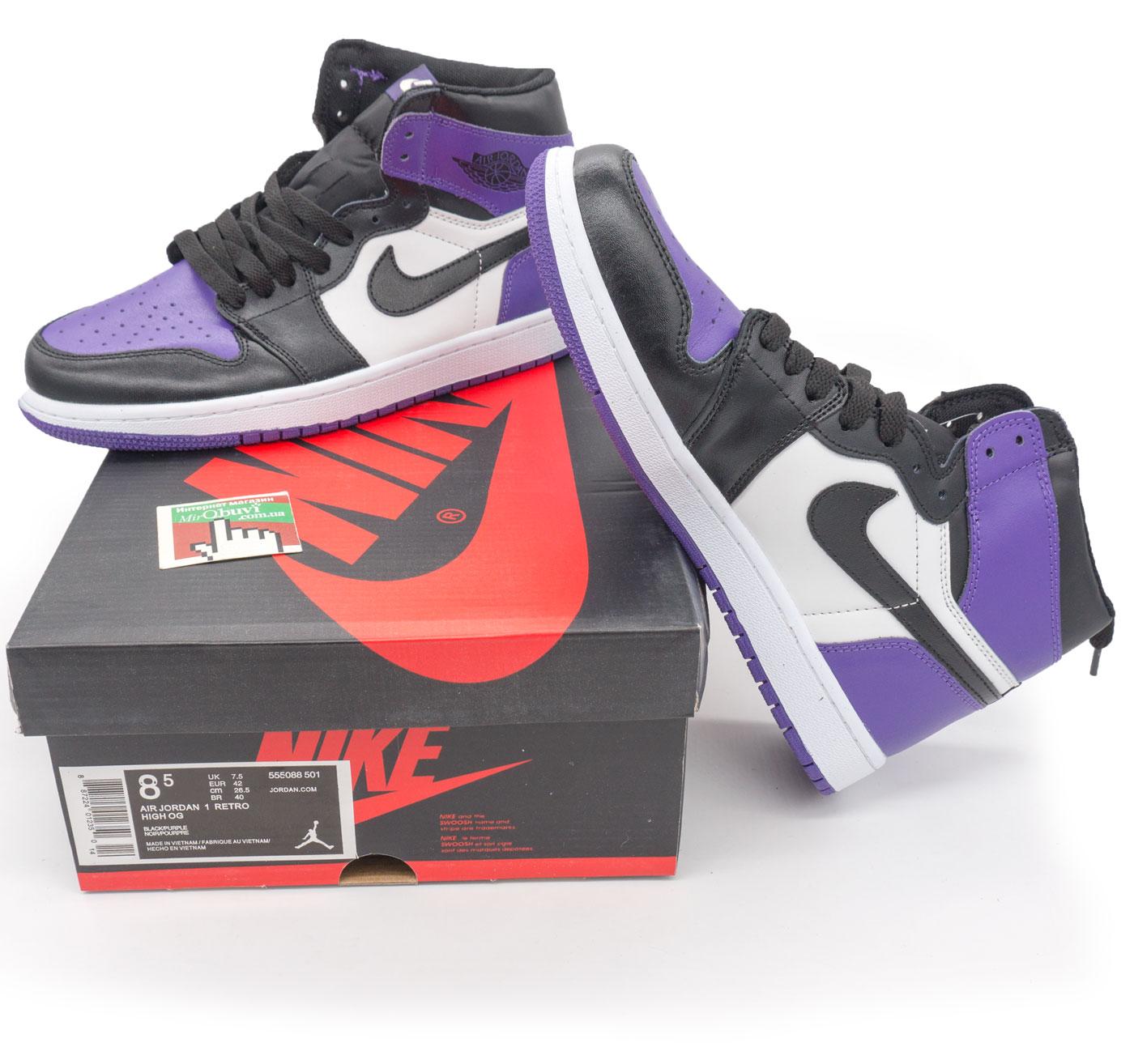 фото bottom Высокие черные c фиолетовым кроссовки Nike Air Jordan 1 . Топ качество! bottom